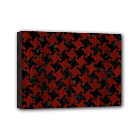 Houndstooth2 Black Marble & Red Wood Mini Canvas 7  X 5  by trendistuff