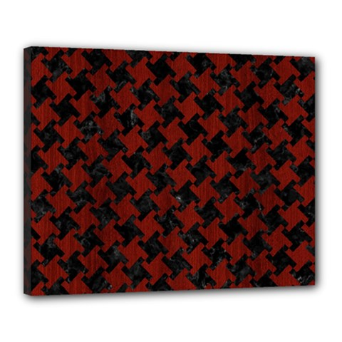 Houndstooth2 Black Marble & Red Wood Canvas 20  X 16  by trendistuff