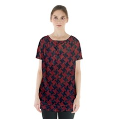 Houndstooth2 Black Marble & Red Wood Skirt Hem Sports Top