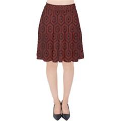 Hexagon1 Black Marble & Red Wood Velvet High Waist Skirt by trendistuff