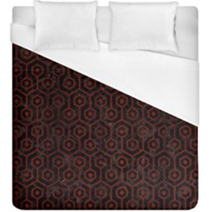 Hexagon1 Black Marble & Red Wood (r) Duvet Cover (king Size) by trendistuff