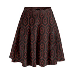 Hexagon1 Black Marble & Red Wood (r) High Waist Skirt by trendistuff