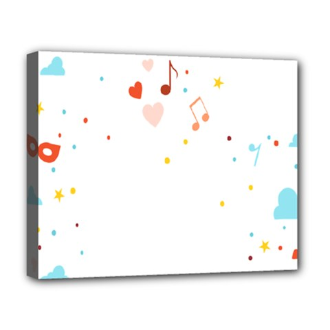 Music Cloud Heart Love Valentine Star Polka Dots Rainbow Mask Sky Deluxe Canvas 20  X 16   by Alisyart