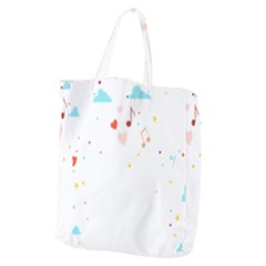 Music Cloud Heart Love Valentine Star Polka Dots Rainbow Mask Sky Giant Grocery Zipper Tote by Alisyart