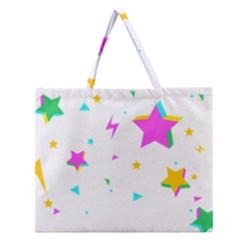 Star Triangle Space Rainbow Zipper Large Tote Bag by Alisyart