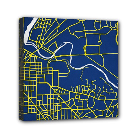 Map Art City Linbe Yellow Blue Mini Canvas 6  X 6  by Alisyart