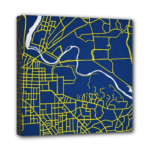 Map Art City Linbe Yellow Blue Mini Canvas 8  X 8  by Alisyart