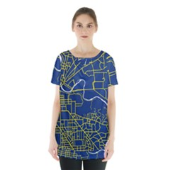 Map Art City Linbe Yellow Blue Skirt Hem Sports Top by Alisyart