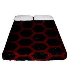 Hexagon2 Black Marble & Red Wood (r) Fitted Sheet (queen Size) by trendistuff