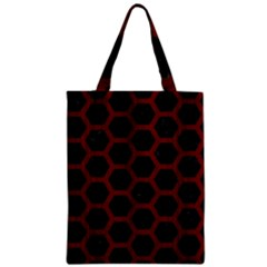 Hexagon2 Black Marble & Red Wood (r) Zipper Classic Tote Bag by trendistuff