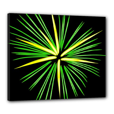Fireworks Green Happy New Year Yellow Black Sky Canvas 24  X 20  by Alisyart