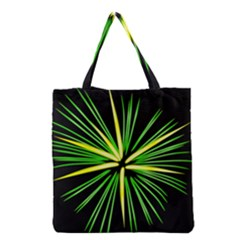 Fireworks Green Happy New Year Yellow Black Sky Grocery Tote Bag by Alisyart