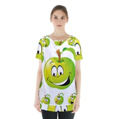 Apple Green Fruit Emoji Face Smile Fres Red Cute Skirt Hem Sports Top by Alisyart