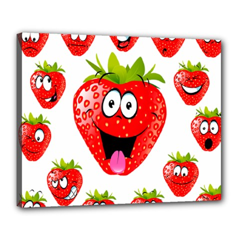 Strawberry Fruit Emoji Face Smile Fres Red Cute Canvas 20  X 16  by Alisyart