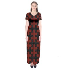 Puzzle1 Black Marble & Red Wood Short Sleeve Maxi Dress