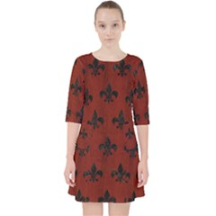 Royal1 Black Marble & Red Wood (r) Pocket Dress