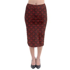 Scales2 Black Marble & Red Wood Midi Pencil Skirt by trendistuff