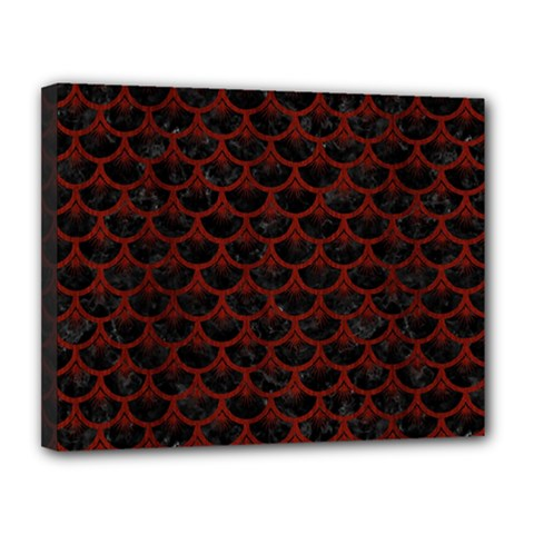 Scales3 Black Marble & Red Wood (r) Canvas 14  X 11  by trendistuff