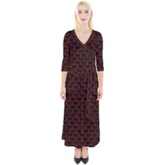 Scales3 Black Marble & Red Wood (r) Quarter Sleeve Wrap Maxi Dress