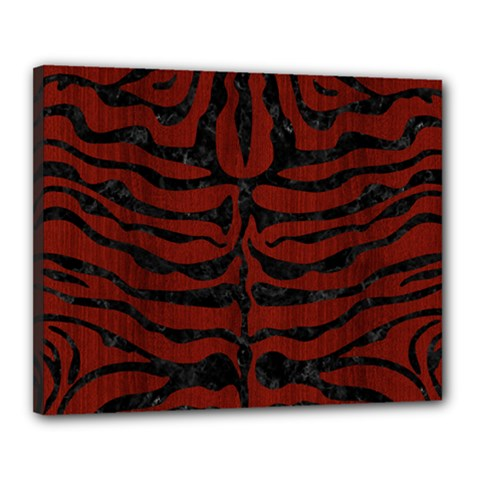 Skin2 Black Marble & Red Wood Canvas 20  X 16  by trendistuff
