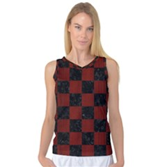 Square1 Black Marble & Red Wood Women s Basketball Tank Top by trendistuff