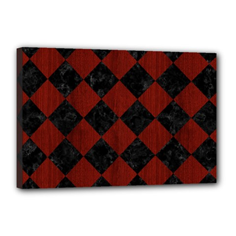 Square2 Black Marble & Red Wood Canvas 18  X 12  by trendistuff