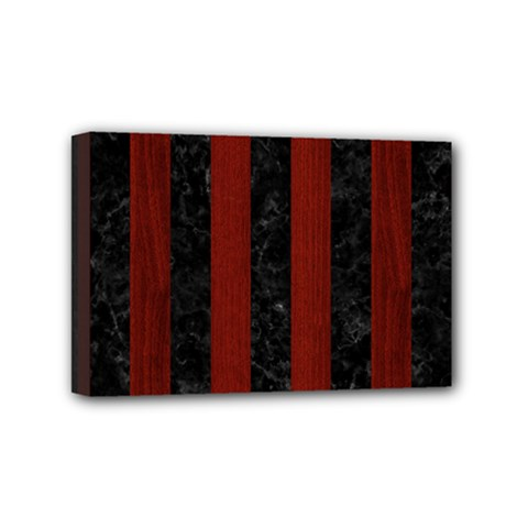 Stripes1 Black Marble & Red Wood Mini Canvas 6  X 4  by trendistuff
