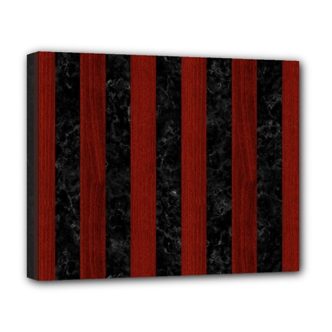 Stripes1 Black Marble & Red Wood Deluxe Canvas 20  X 16   by trendistuff