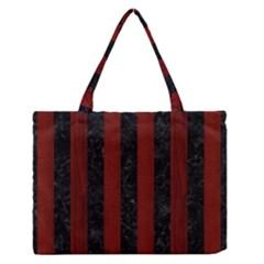 Stripes1 Black Marble & Red Wood Zipper Medium Tote Bag by trendistuff