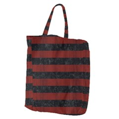 Stripes2 Black Marble & Red Wood Giant Grocery Zipper Tote