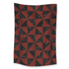 Triangle1 Black Marble & Red Wood Large Tapestry by trendistuff