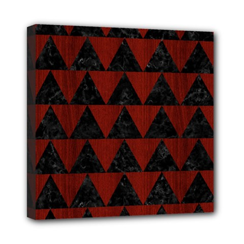 Triangle2 Black Marble & Red Wood Mini Canvas 8  X 8  by trendistuff