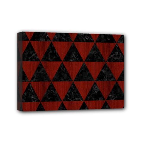 Triangle3 Black Marble & Red Wood Mini Canvas 7  X 5  by trendistuff