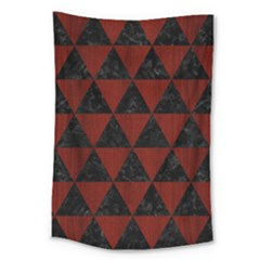 Triangle3 Black Marble & Red Wood Large Tapestry by trendistuff