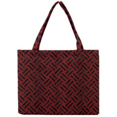Woven2 Black Marble & Red Wood Mini Tote Bag by trendistuff