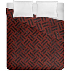 Woven2 Black Marble & Red Wood Duvet Cover Double Side (california King Size) by trendistuff