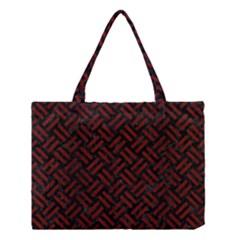 Woven2 Black Marble & Red Wood (r) Medium Tote Bag by trendistuff