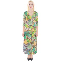 Mosaic Linda 2 Quarter Sleeve Wrap Maxi Dress