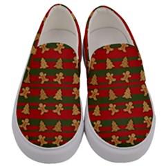 Ginger Cookies Christmas Pattern Men s Canvas Slip Ons
