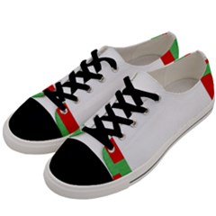 Fabric Christmas Red White Green Men s Low Top Canvas Sneakers by Onesevenart
