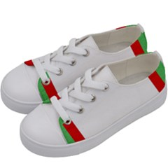 Fabric Christmas Red White Green Kids  Low Top Canvas Sneakers by Onesevenart