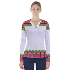 Frame Pattern Christmas Frame V Neck Long Sleeve Top
