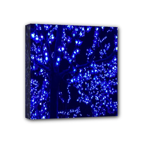 Lights Blue Tree Night Glow Mini Canvas 4  X 4  by Onesevenart