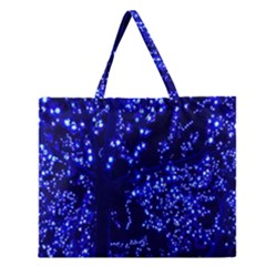 Lights Blue Tree Night Glow Zipper Large Tote Bag by Onesevenart