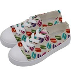 Macaron Macaroon Stylized Macaron Kids  Low Top Canvas Sneakers by Onesevenart