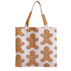 Pattern Christmas Biscuits Pastries Zipper Grocery Tote Bag by Onesevenart