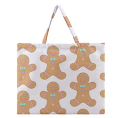 Pattern Christmas Biscuits Pastries Zipper Large Tote Bag by Onesevenart