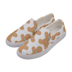 Pattern Christmas Biscuits Pastries Women s Canvas Slip Ons by Onesevenart