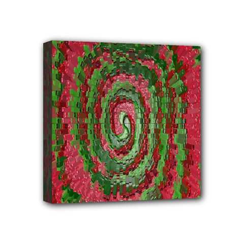 Red Green Swirl Twirl Colorful Mini Canvas 4  X 4  by Onesevenart