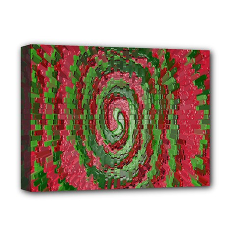 Red Green Swirl Twirl Colorful Deluxe Canvas 16  X 12   by Onesevenart